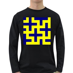 Pattern Blue Yellow Crosses Plus Style Bright Long Sleeve Dark T-Shirts