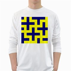 Pattern Blue Yellow Crosses Plus Style Bright White Long Sleeve T-Shirts