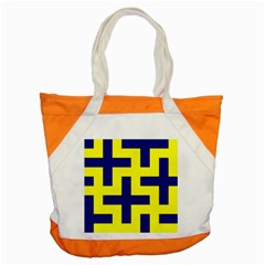 Pattern Blue Yellow Crosses Plus Style Bright Accent Tote Bag