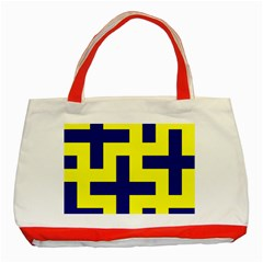 Pattern Blue Yellow Crosses Plus Style Bright Classic Tote Bag (Red)