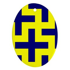 Pattern Blue Yellow Crosses Plus Style Bright Oval Ornament (Two Sides)