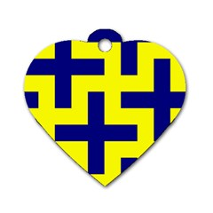 Pattern Blue Yellow Crosses Plus Style Bright Dog Tag Heart (Two Sides)