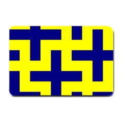 Pattern Blue Yellow Crosses Plus Style Bright Small Doormat