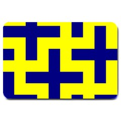 Pattern Blue Yellow Crosses Plus Style Bright Large Doormat