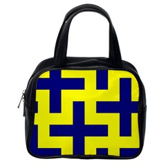 Pattern Blue Yellow Crosses Plus Style Bright Classic Handbags (One Side)
