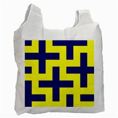 Pattern Blue Yellow Crosses Plus Style Bright Recycle Bag (Two Side)