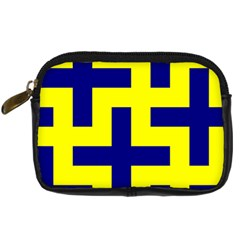 Pattern Blue Yellow Crosses Plus Style Bright Digital Camera Cases