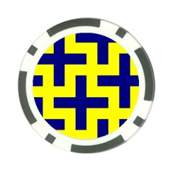 Pattern Blue Yellow Crosses Plus Style Bright Poker Chip Card Guard (10 pack)