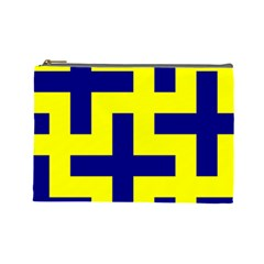 Pattern Blue Yellow Crosses Plus Style Bright Cosmetic Bag (Large)