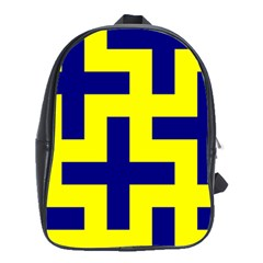 Pattern Blue Yellow Crosses Plus Style Bright School Bags(Large)
