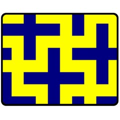 Pattern Blue Yellow Crosses Plus Style Bright Fleece Blanket (Medium)