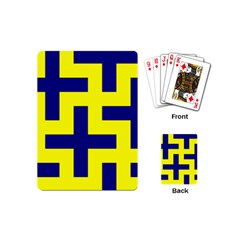 Pattern Blue Yellow Crosses Plus Style Bright Playing Cards (Mini)