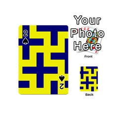 Pattern Blue Yellow Crosses Plus Style Bright Playing Cards 54 (Mini)