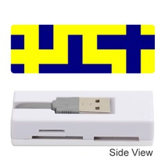 Pattern Blue Yellow Crosses Plus Style Bright Memory Card Reader (Stick)