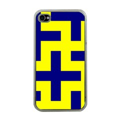Pattern Blue Yellow Crosses Plus Style Bright Apple iPhone 4 Case (Clear)