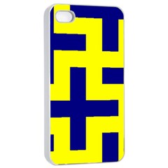Pattern Blue Yellow Crosses Plus Style Bright Apple iPhone 4/4s Seamless Case (White)