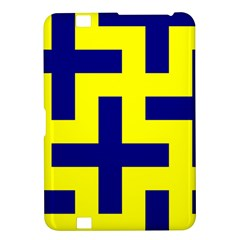 Pattern Blue Yellow Crosses Plus Style Bright Kindle Fire HD 8.9