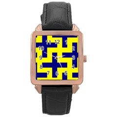 Pattern Blue Yellow Crosses Plus Style Bright Rose Gold Leather Watch