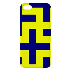 Pattern Blue Yellow Crosses Plus Style Bright Apple iPhone 5 Premium Hardshell Case