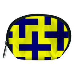 Pattern Blue Yellow Crosses Plus Style Bright Accessory Pouches (Medium)