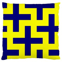 Pattern Blue Yellow Crosses Plus Style Bright Large Flano Cushion Case (One Side)