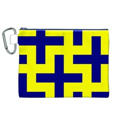 Pattern Blue Yellow Crosses Plus Style Bright Canvas Cosmetic Bag (XL)