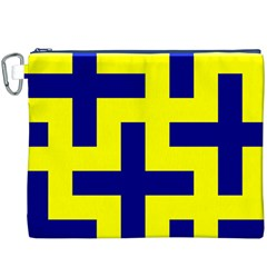 Pattern Blue Yellow Crosses Plus Style Bright Canvas Cosmetic Bag (XXXL)