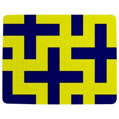Pattern Blue Yellow Crosses Plus Style Bright Jigsaw Puzzle Photo Stand (Rectangular)