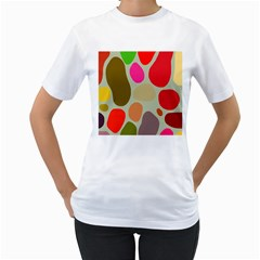 Pattern Design Abstract Shapes Women s T-Shirt (White) (Two Sided)