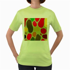 Pattern Design Abstract Shapes Women s Green T-Shirt