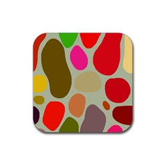 Pattern Design Abstract Shapes Rubber Square Coaster (4 pack)