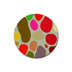 Pattern Design Abstract Shapes Rubber Round Coaster (4 pack)