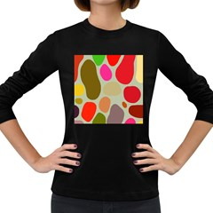Pattern Design Abstract Shapes Women s Long Sleeve Dark T-Shirts