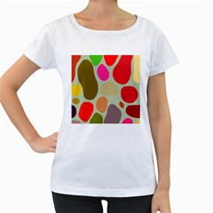 Pattern Design Abstract Shapes Women s Loose-Fit T-Shirt (White)