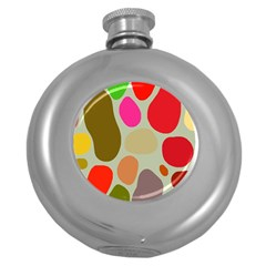 Pattern Design Abstract Shapes Round Hip Flask (5 oz)