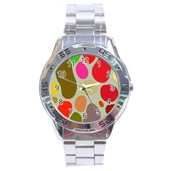 Pattern Design Abstract Shapes Stainless Steel Analogue Watch