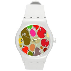 Pattern Design Abstract Shapes Round Plastic Sport Watch (m)