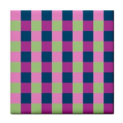 Pink Teal Lime Orchid Pattern Tile Coasters
