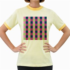 Pink Teal Lime Orchid Pattern Women s Fitted Ringer T-Shirts