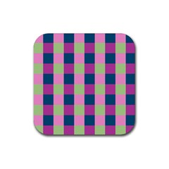 Pink Teal Lime Orchid Pattern Rubber Coaster (Square)