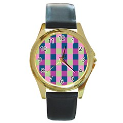 Pink Teal Lime Orchid Pattern Round Gold Metal Watch