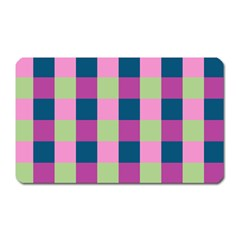 Pink Teal Lime Orchid Pattern Magnet (Rectangular)