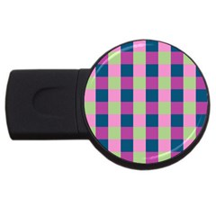 Pink Teal Lime Orchid Pattern USB Flash Drive Round (2 GB)