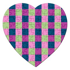 Pink Teal Lime Orchid Pattern Jigsaw Puzzle (Heart)