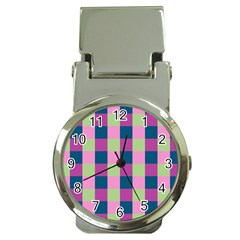 Pink Teal Lime Orchid Pattern Money Clip Watches