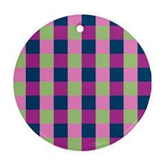Pink Teal Lime Orchid Pattern Round Ornament (Two Sides)