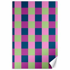 Pink Teal Lime Orchid Pattern Canvas 24  x 36