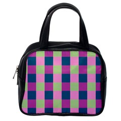 Pink Teal Lime Orchid Pattern Classic Handbags (One Side)