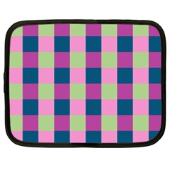 Pink Teal Lime Orchid Pattern Netbook Case (XXL)