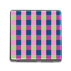 Pink Teal Lime Orchid Pattern Memory Card Reader (Square)